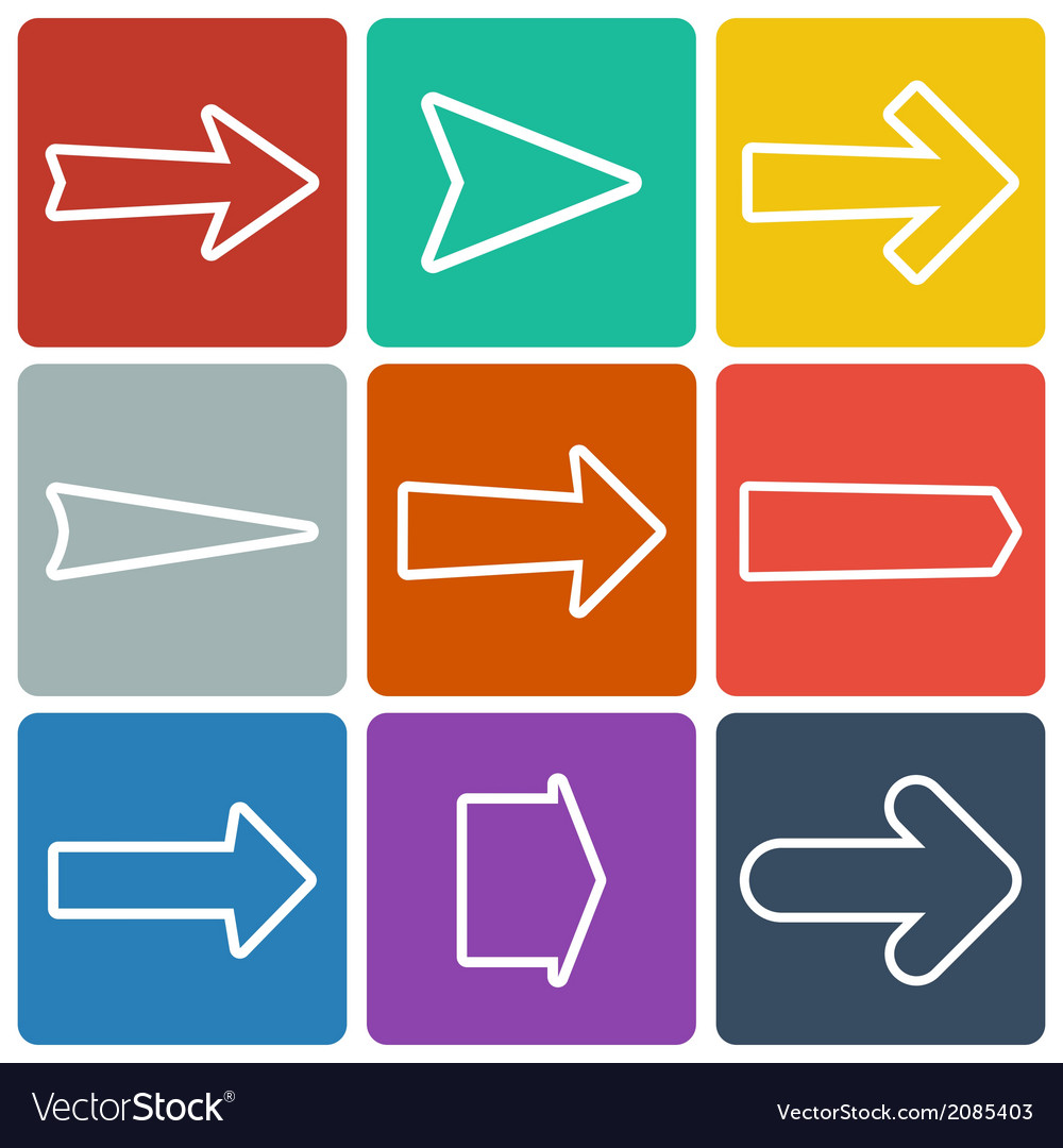 Set of colorful flat arrows vector | Price: 1 Credit (USD $1)