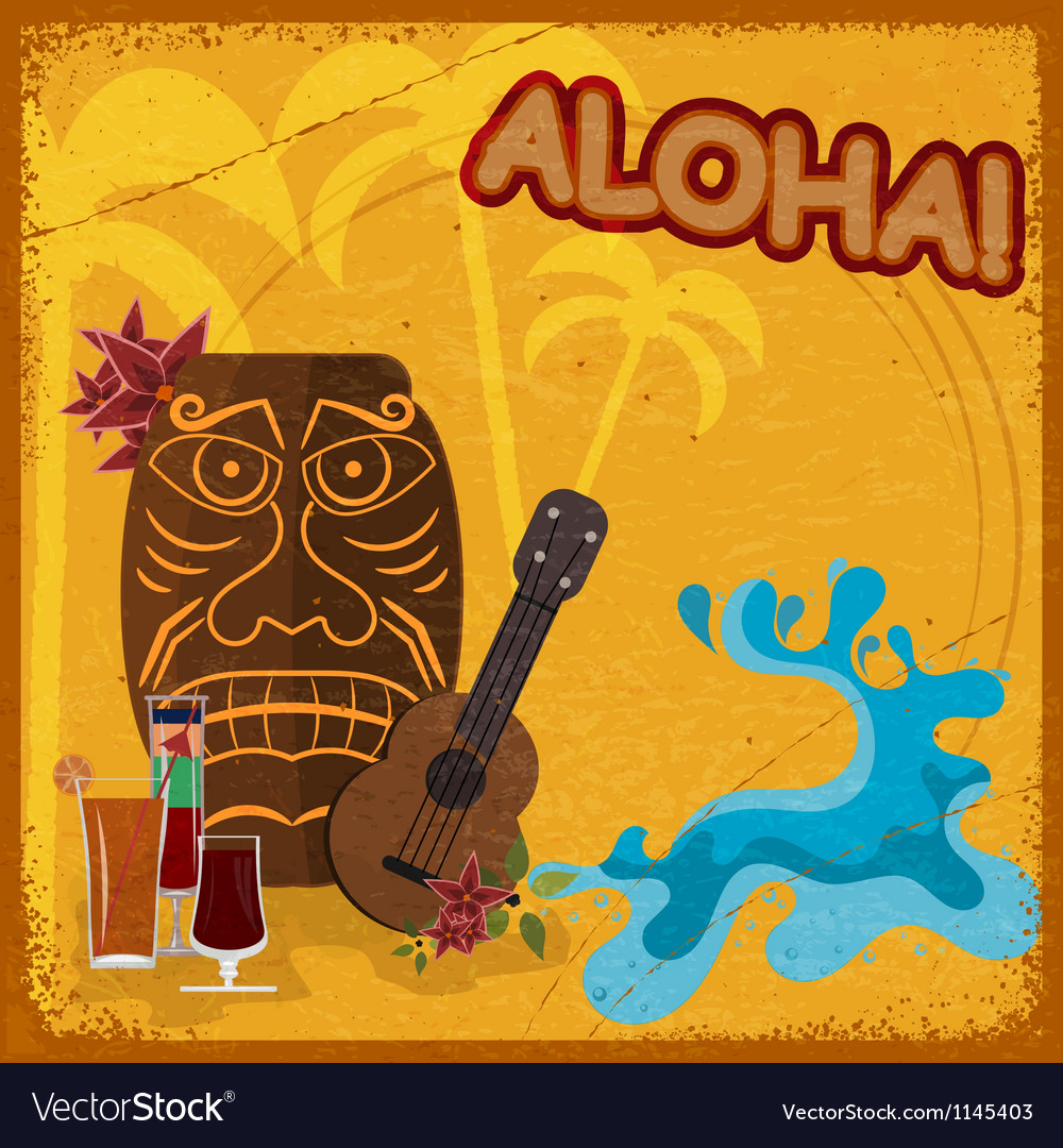 Vintage postcard with featuring hawaiian masks vector | Price: 1 Credit (USD $1)