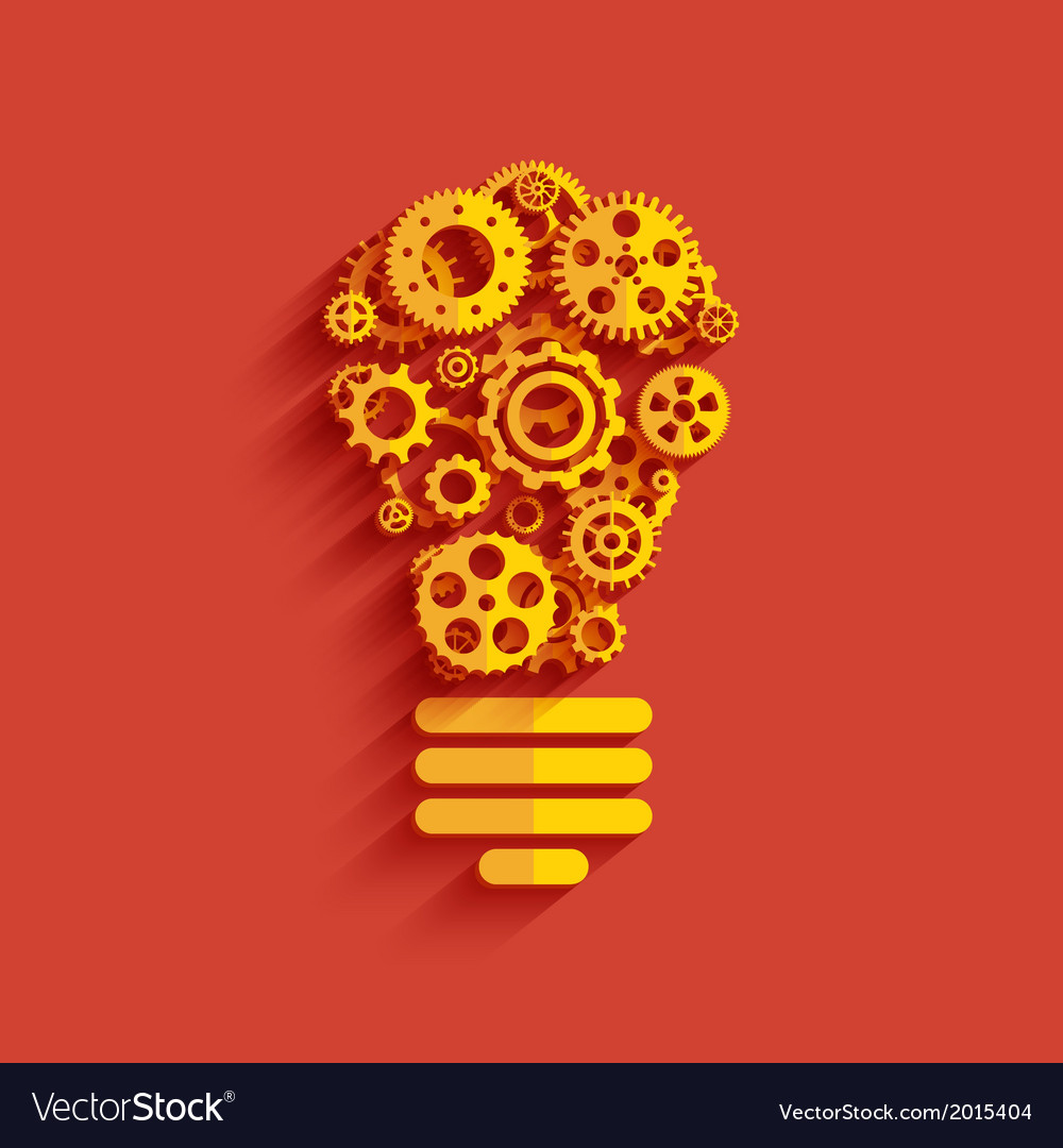 Bulb with gears and cogs vector | Price: 1 Credit (USD $1)