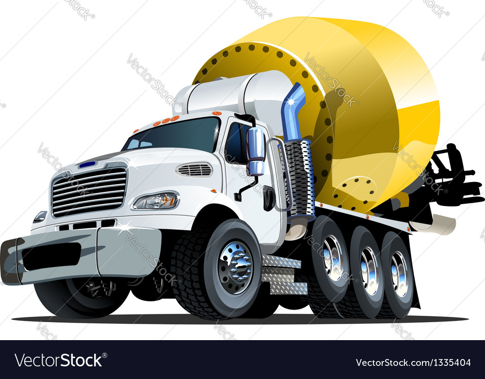 Cartoon mixer truck one click repaint option vector | Price: 3 Credit (USD $3)