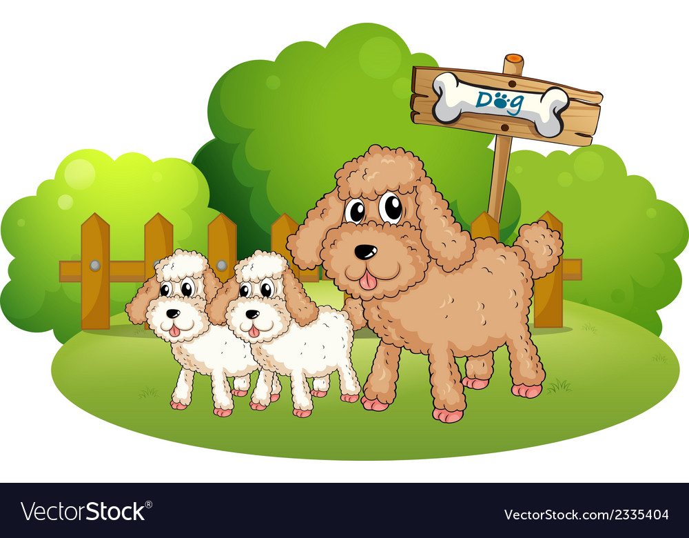 Cute dogs near the signboard vector | Price: 1 Credit (USD $1)
