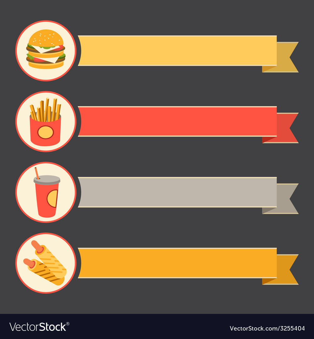 Flat icon set fast food with vintage ribbons vector   Price: 1 Credit (USD $1)