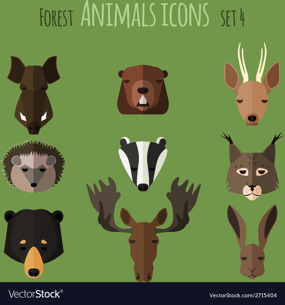 Forest animals flat icons set 2 vector