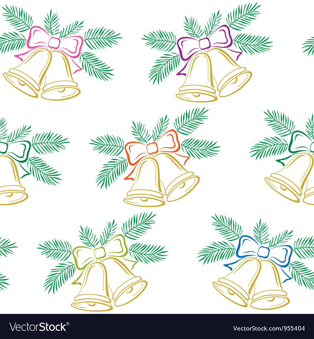 Seamless background christmas bells pictogram vector | Price: 1 Credit (USD $1)