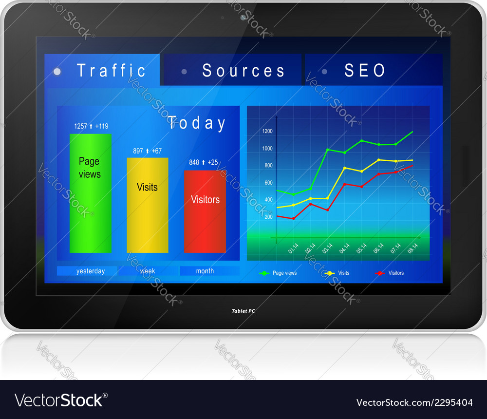 Web site analytics on tablet pc screen vector | Price: 1 Credit (USD $1)