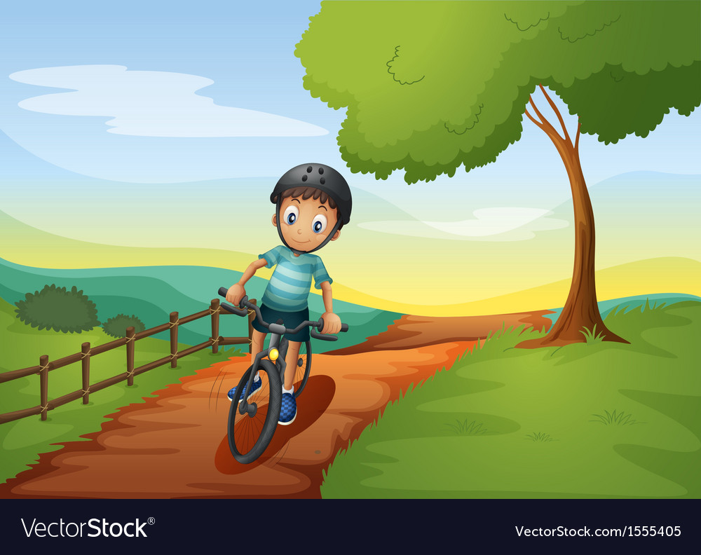 A boy going to the farm with his bike vector | Price: 3 Credit (USD $3)