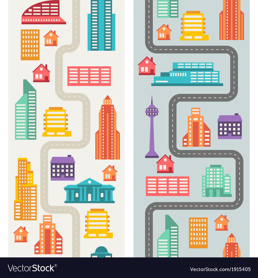 Cityscape seamless vertical banners with buildings vector | Price: 1 Credit (USD $1)