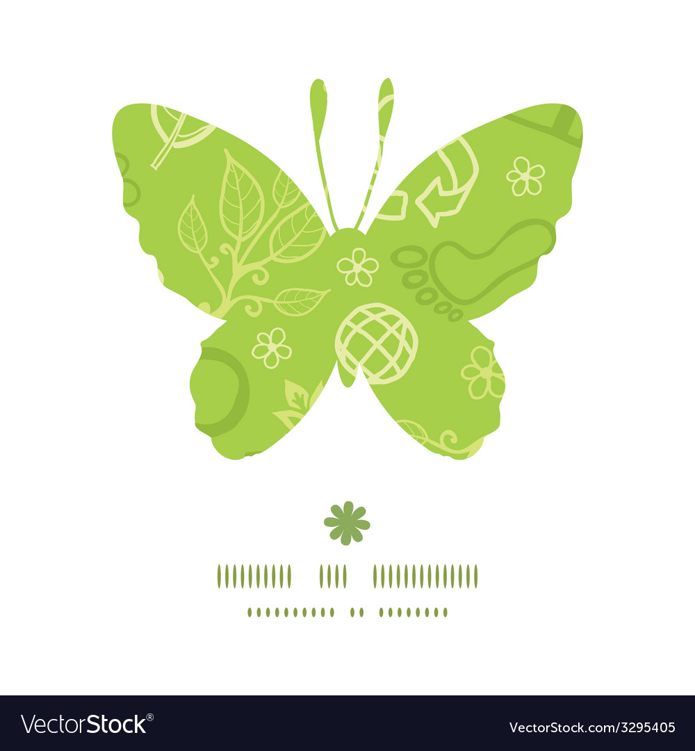 Environmental butterfly silhouette pattern frame vector | Price: 1 Credit (USD $1)