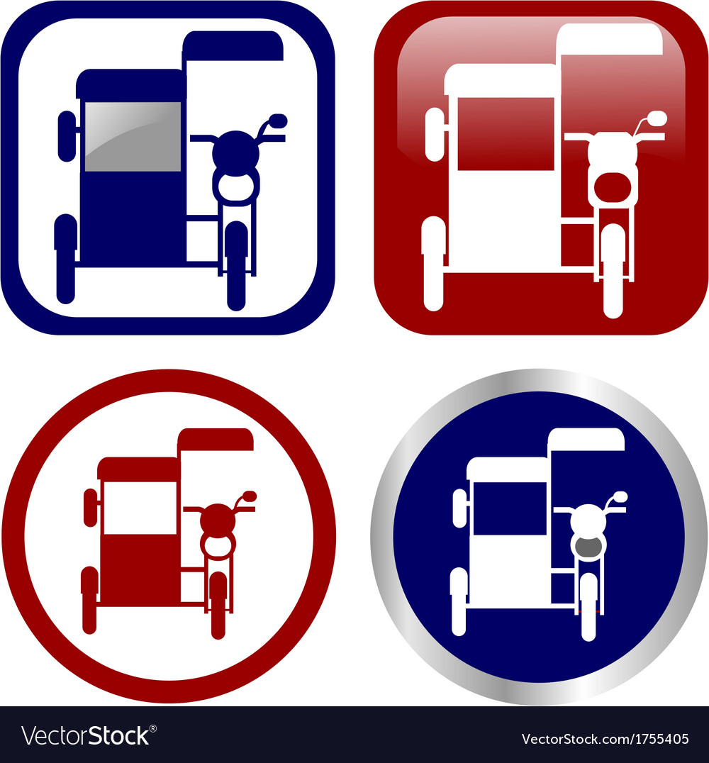 Philippine tricycle sign icon set vector | Price: 1 Credit (USD $1)