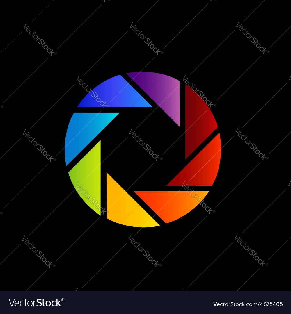 Rainbow colored photography shutter logo vector | Price: 1 Credit (USD $1)
