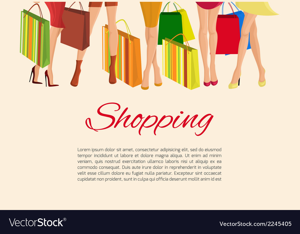 Shopping girl legs poster vector | Price: 1 Credit (USD $1)