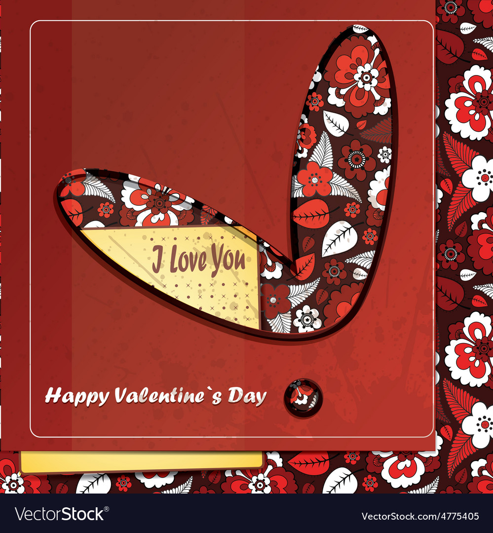 Valentine day card with floral heart vector   Price: 1 Credit (USD $1)