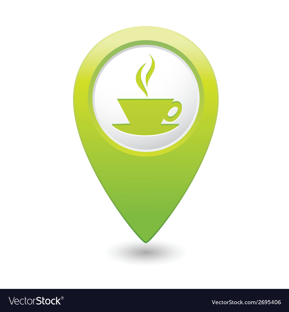 Cafe icon green map pointer vector | Price: 1 Credit (USD $1)