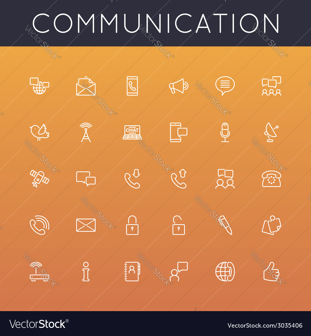Communication line icons vector | Price: 1 Credit (USD $1)