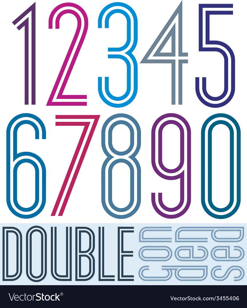 Condensed colorful double numbers on white vector | Price: 1 Credit (USD $1)