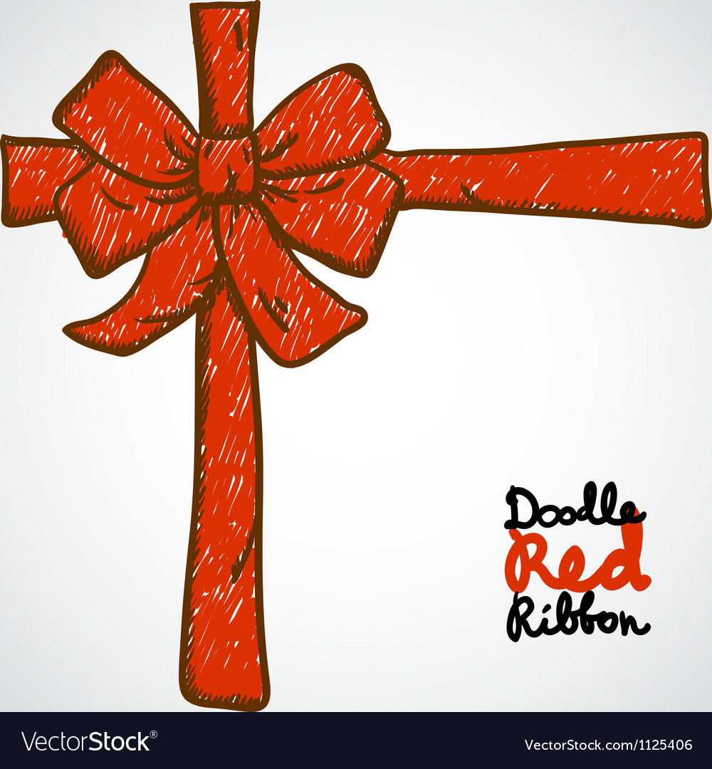 Doodle red ribbon vector | Price: 1 Credit (USD $1)