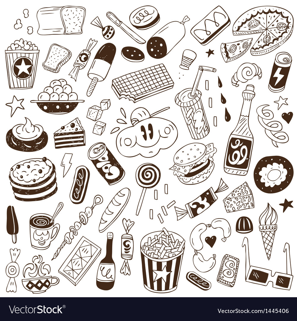 Fast food - doodles vector | Price: 1 Credit (USD $1)