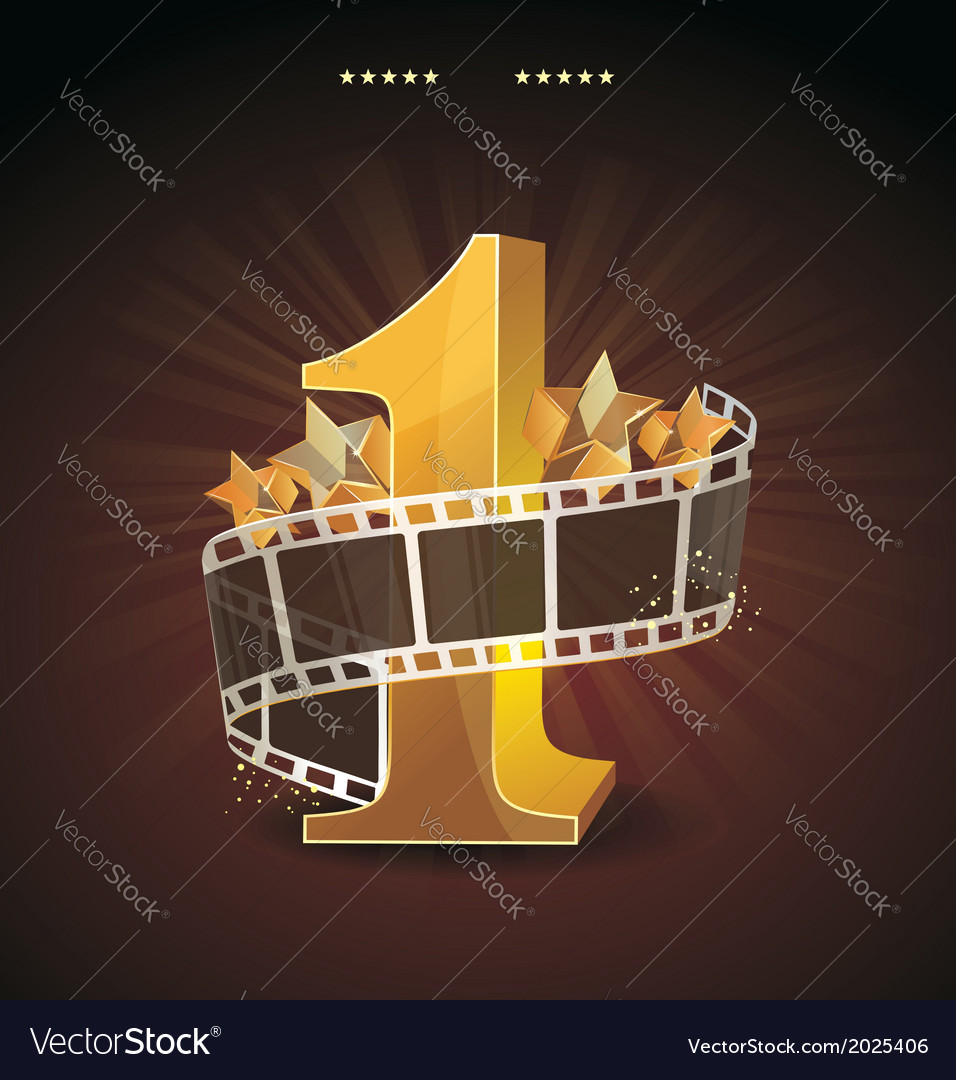 Gold number 1 with twisted filmstrip and glass vector | Price: 1 Credit (USD $1)