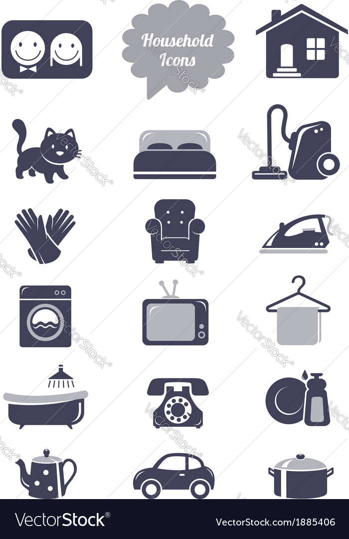 Household icons set vector | Price: 1 Credit (USD $1)