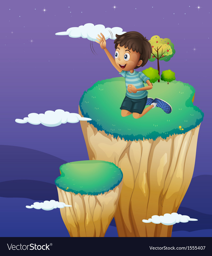 A boy reaching the cloud vector | Price: 1 Credit (USD $1)