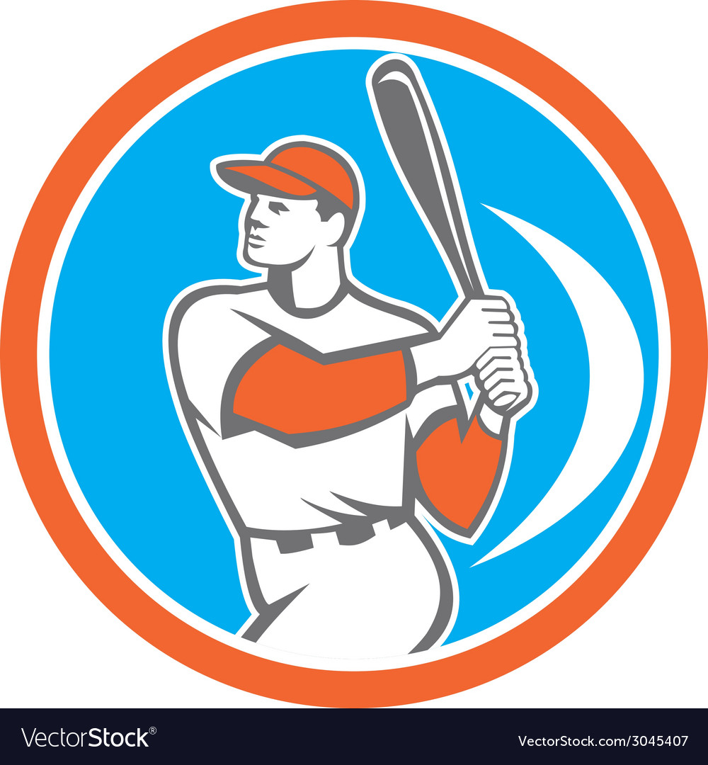Baseball batter hitter bat circle retro vector | Price: 1 Credit (USD $1)