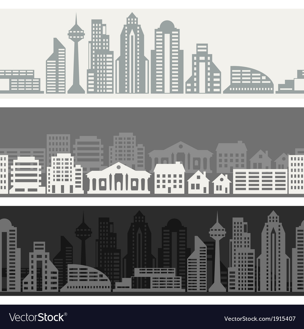 Cityscape seamless horizontal banners with vector | Price: 1 Credit (USD $1)