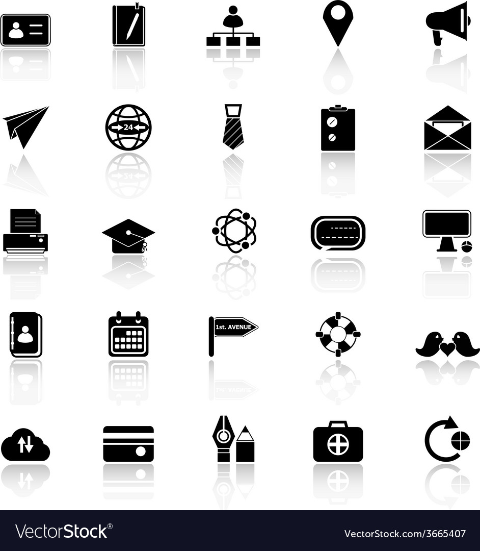 Contact connection icons with reflect on white vector   Price: 1 Credit (USD $1)