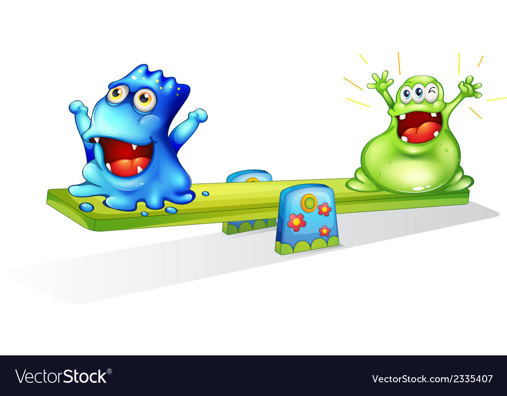 Happy monsters playing vector | Price: 1 Credit (USD $1)