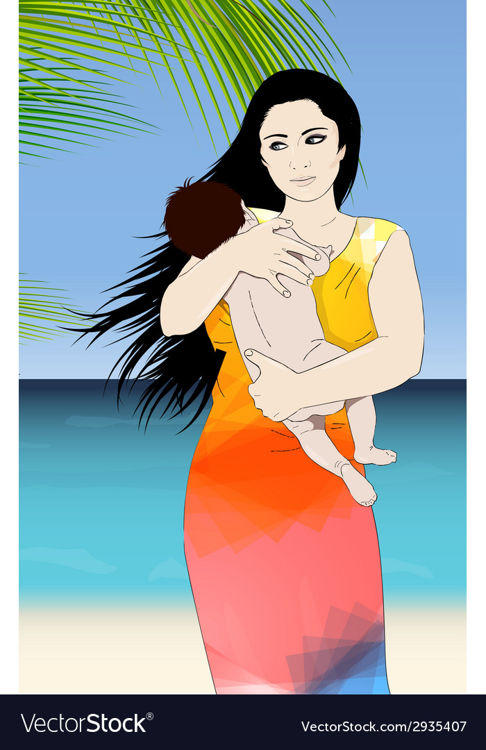 Mother and baby tropical vector | Price: 1 Credit (USD $1)