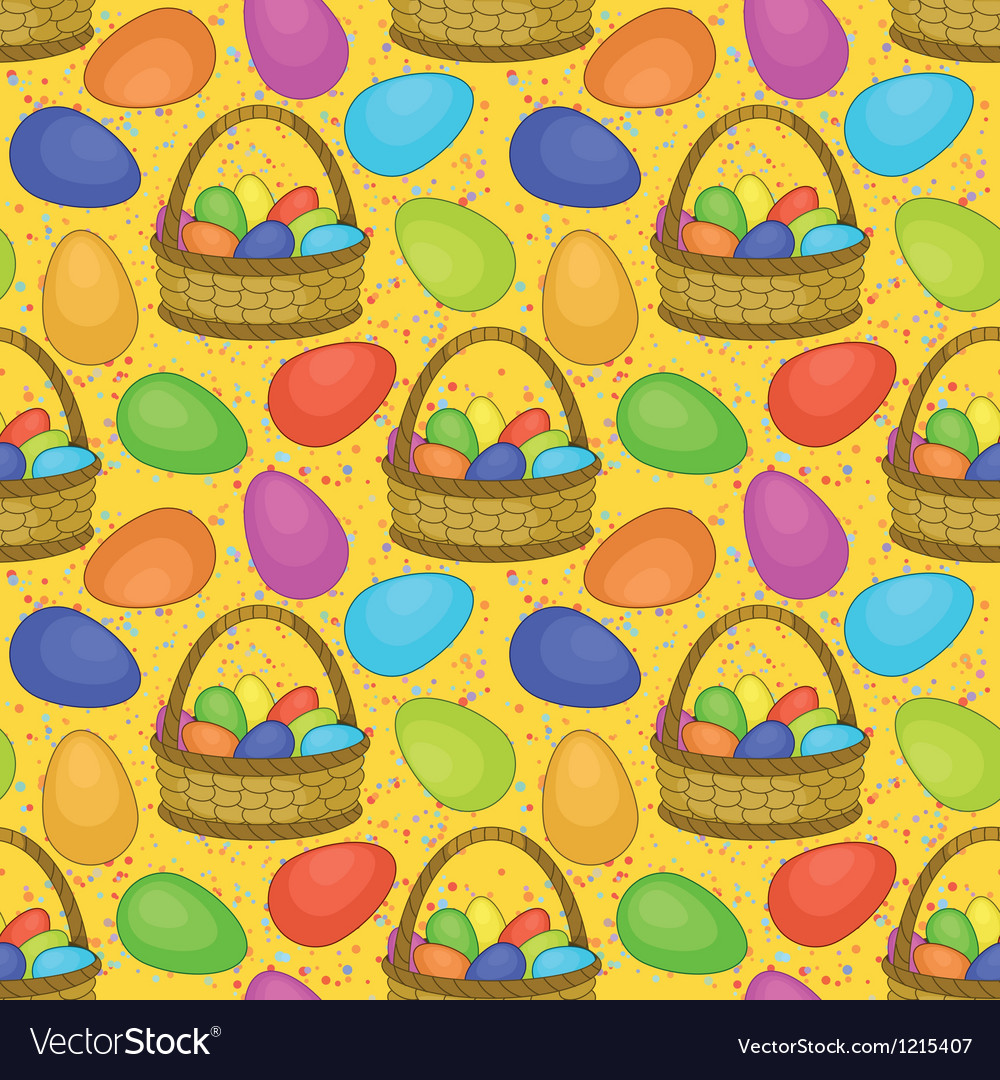 Seamless basket with easter eggs vector | Price: 1 Credit (USD $1)