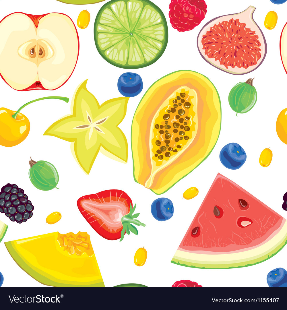 Seamless pattern of fruit and berries vector | Price: 1 Credit (USD $1)