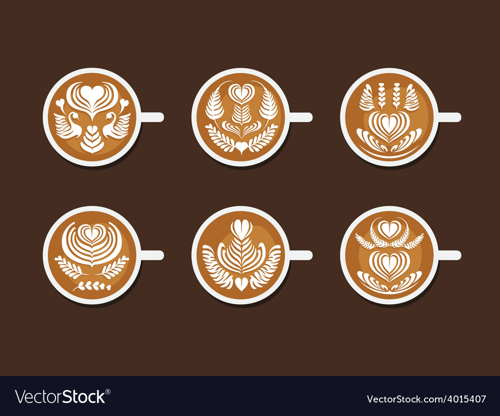 Set of latte art white cup vector | Price: 1 Credit (USD $1)