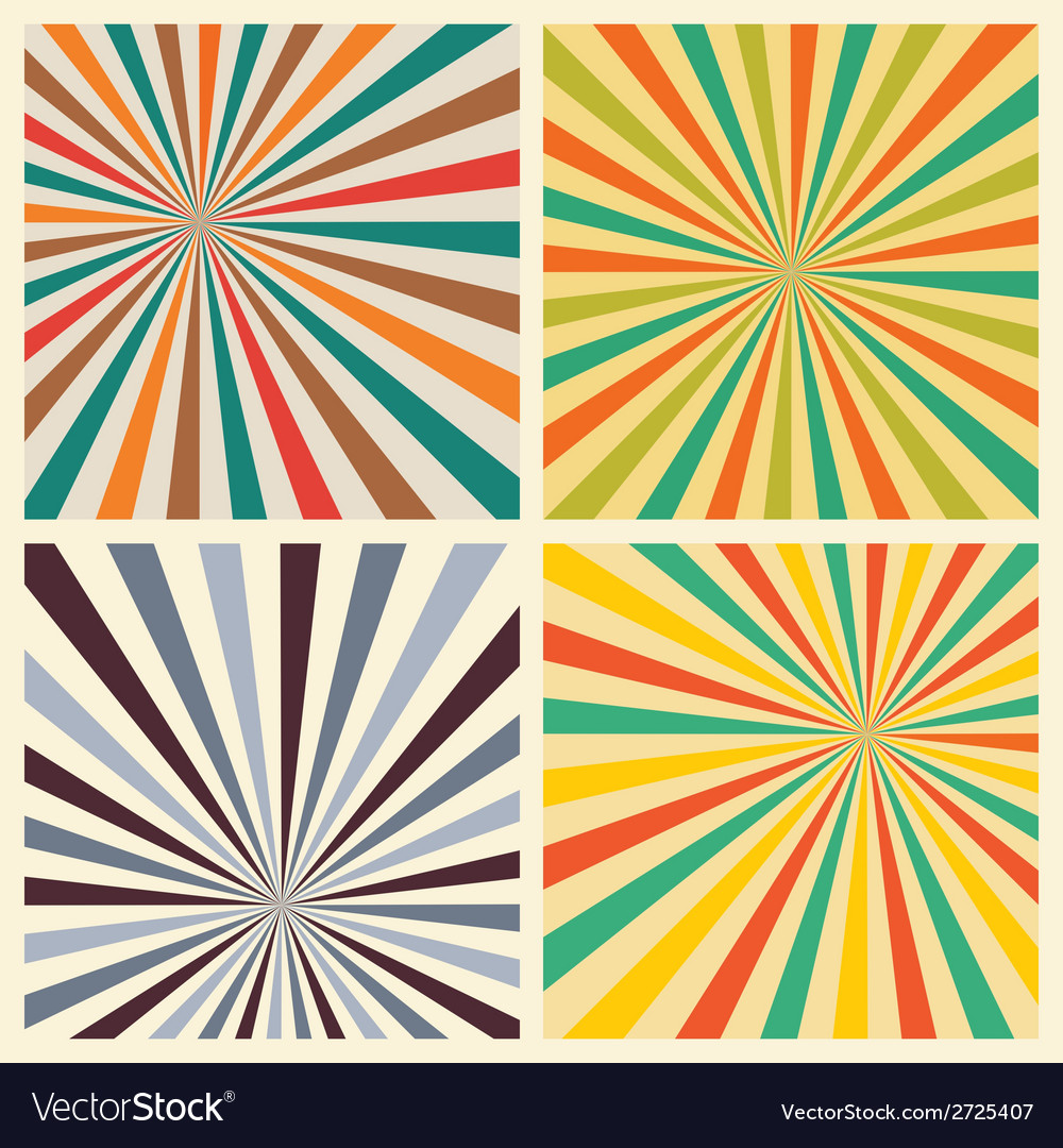 Sunburst retro textured grunge background set vector | Price: 1 Credit (USD $1)
