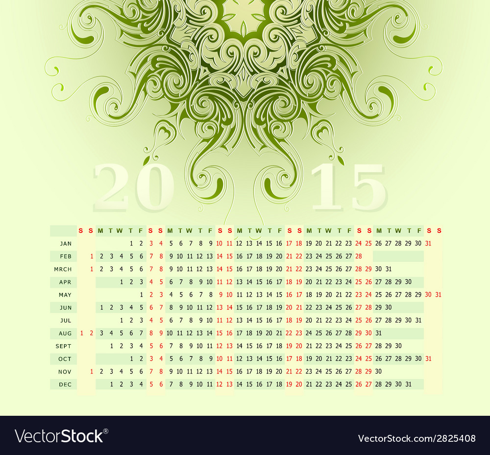 2015 calendar horizontal row vector | Price: 1 Credit (USD $1)