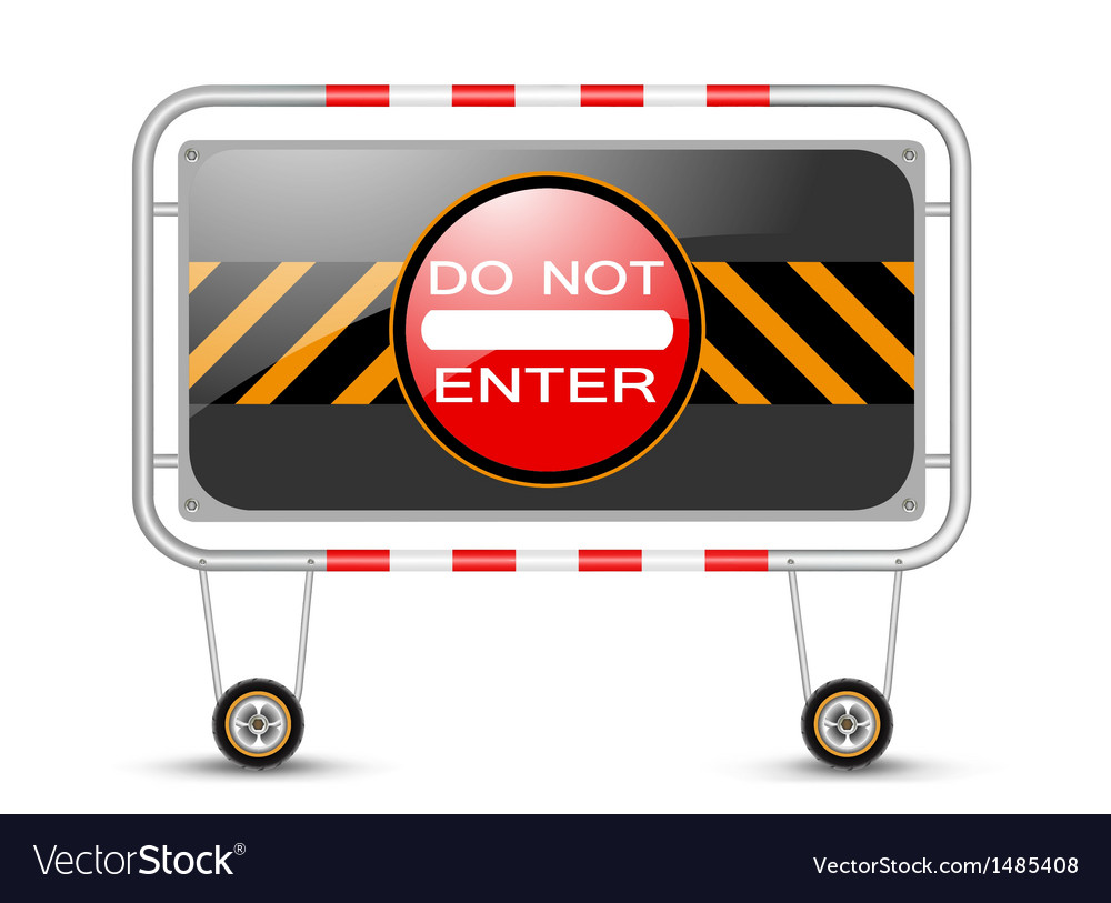 Barrier with traffic sign vector | Price: 1 Credit (USD $1)