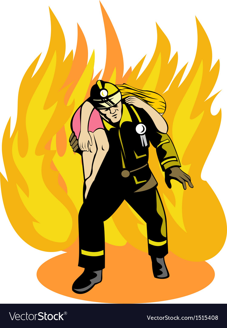 Fireman fire fighter saving girl vector | Price: 1 Credit (USD $1)