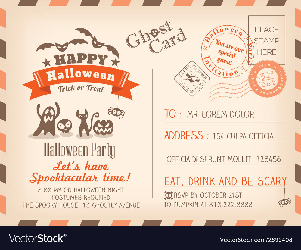 Happy halloween vintage postcard background vector | Price: 1 Credit (USD $1)