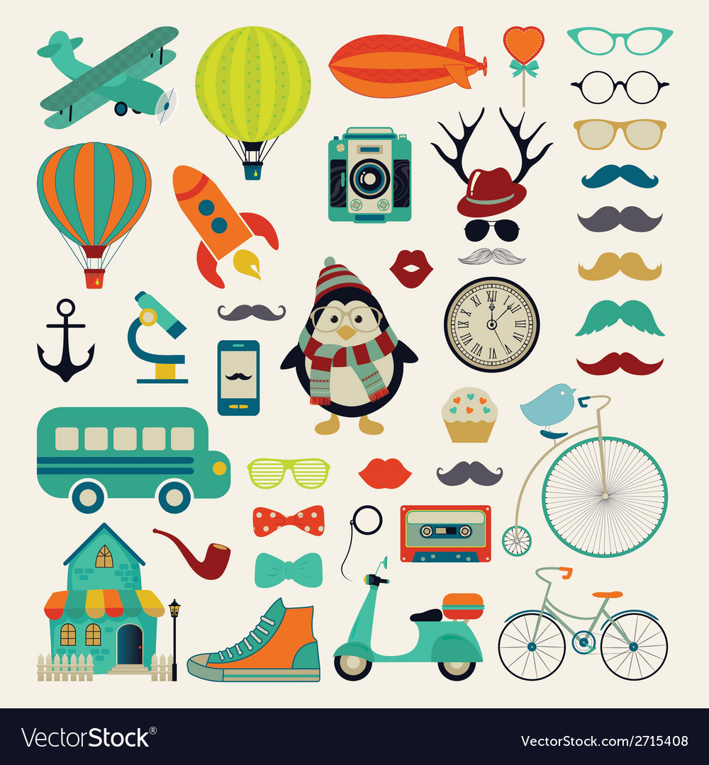 Retro vintage hipster icon set vector | Price: 1 Credit (USD $1)