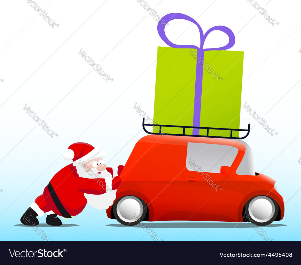 Santa pushing a red mini car with a gift box vector | Price: 1 Credit (USD $1)