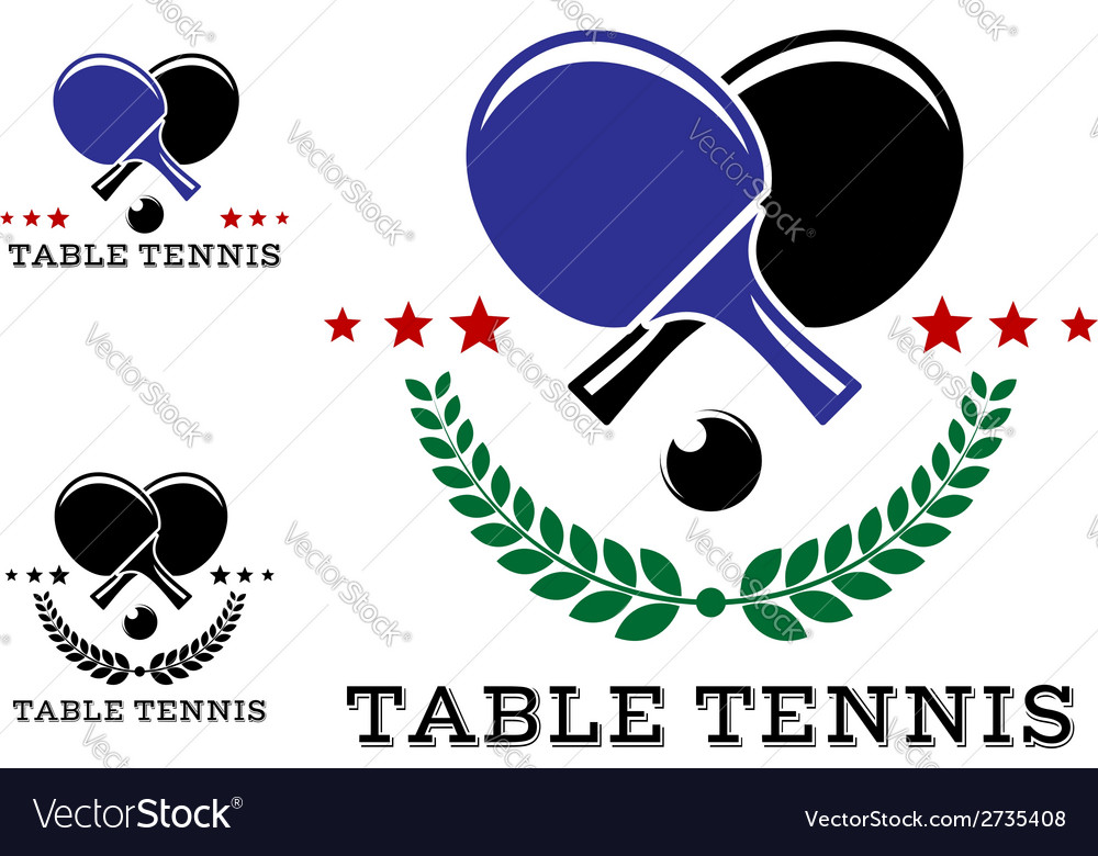 Set of table tennis emblems vector | Price: 1 Credit (USD $1)