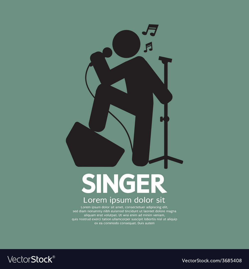 Standing singer black graphic symbol vector