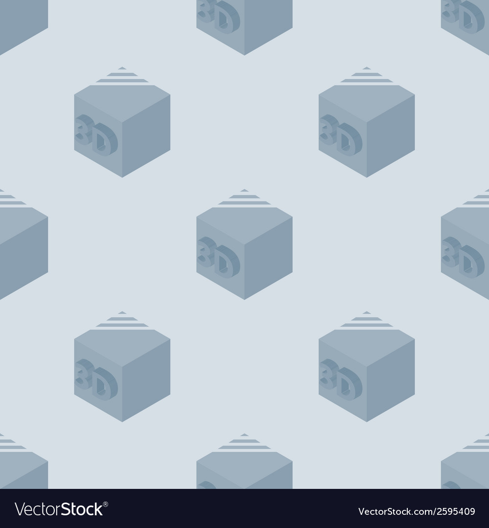 3d printer seamless pattern made with 3d cubes vector | Price: 1 Credit (USD $1)