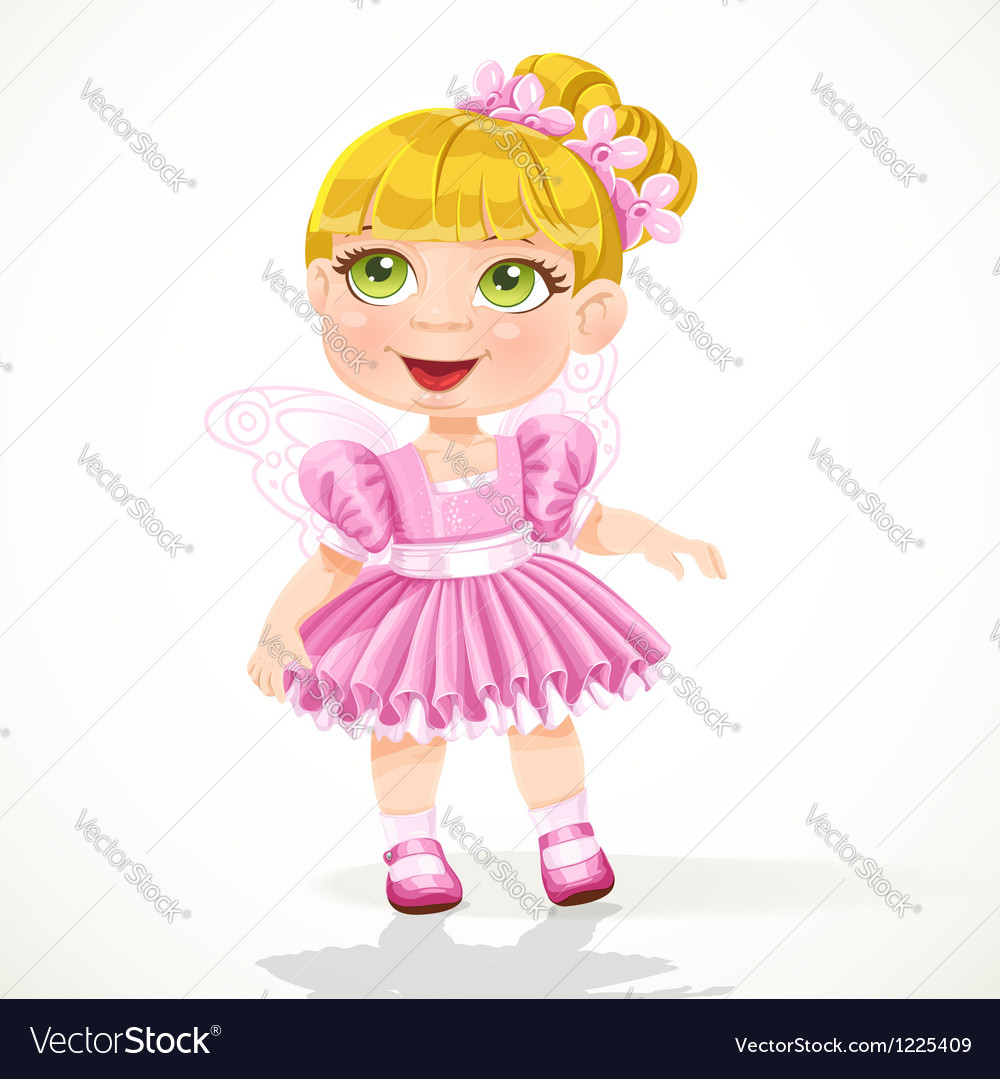 Cute little girl in a pink tutu and wings vector | Price: 3 Credit (USD $3)