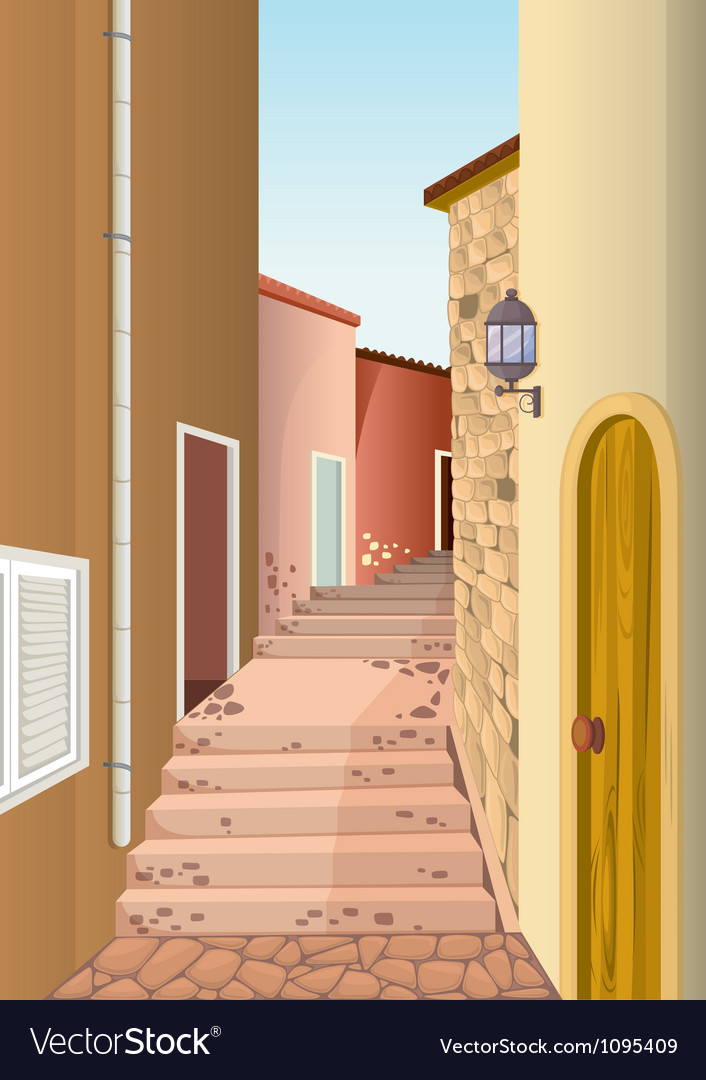 House colony with staircase passage vector | Price: 1 Credit (USD $1)