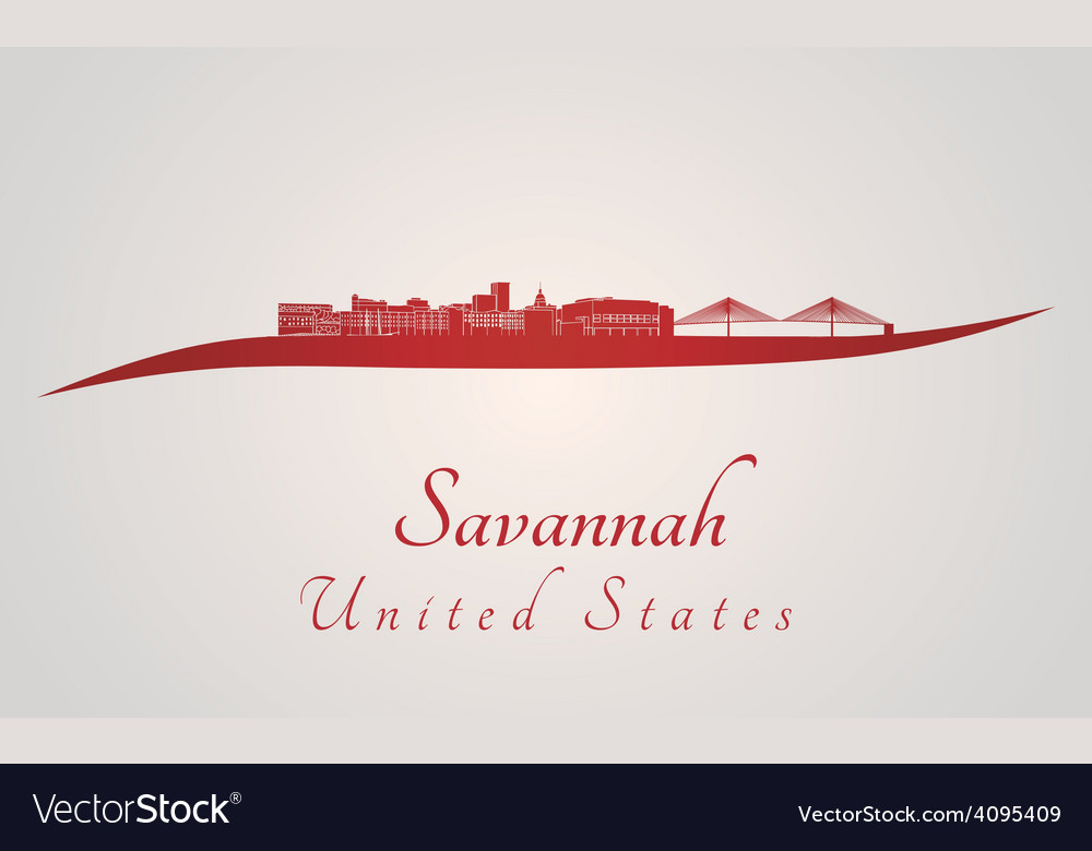 Savannah skyline in red vector | Price: 1 Credit (USD $1)