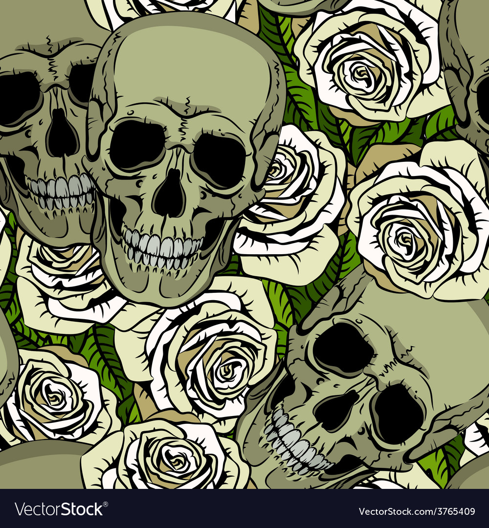 Seamless pattern with skulls and white roses vector | Price: 1 Credit (USD $1)