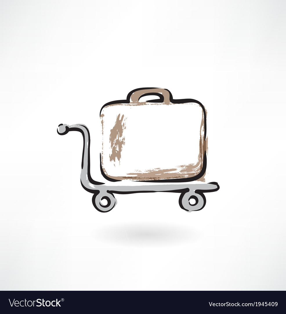 Suitcase on wheels grunge icon vector | Price: 1 Credit (USD $1)