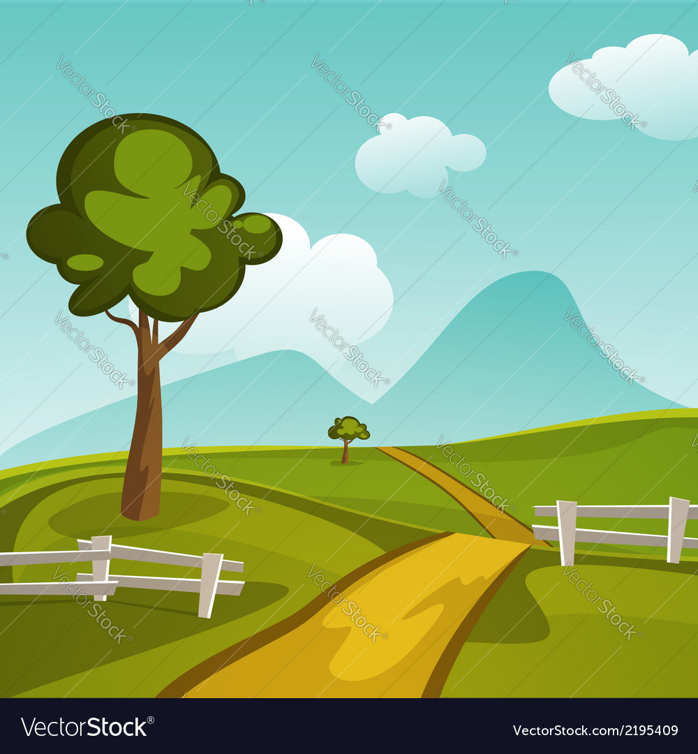 Summer landscape vector | Price: 3 Credit (USD $3)