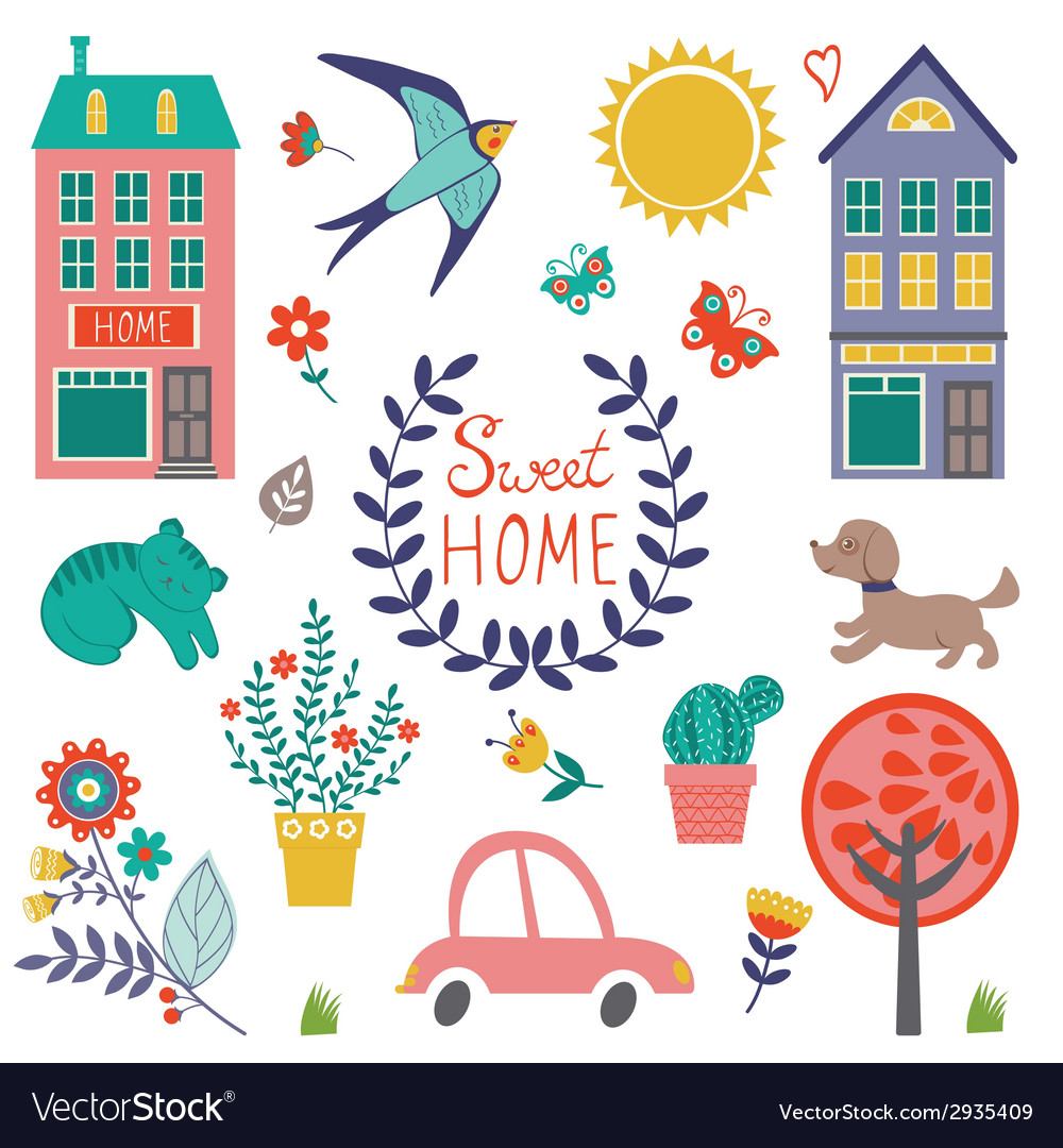 Sweet home colorful set vector | Price: 1 Credit (USD $1)