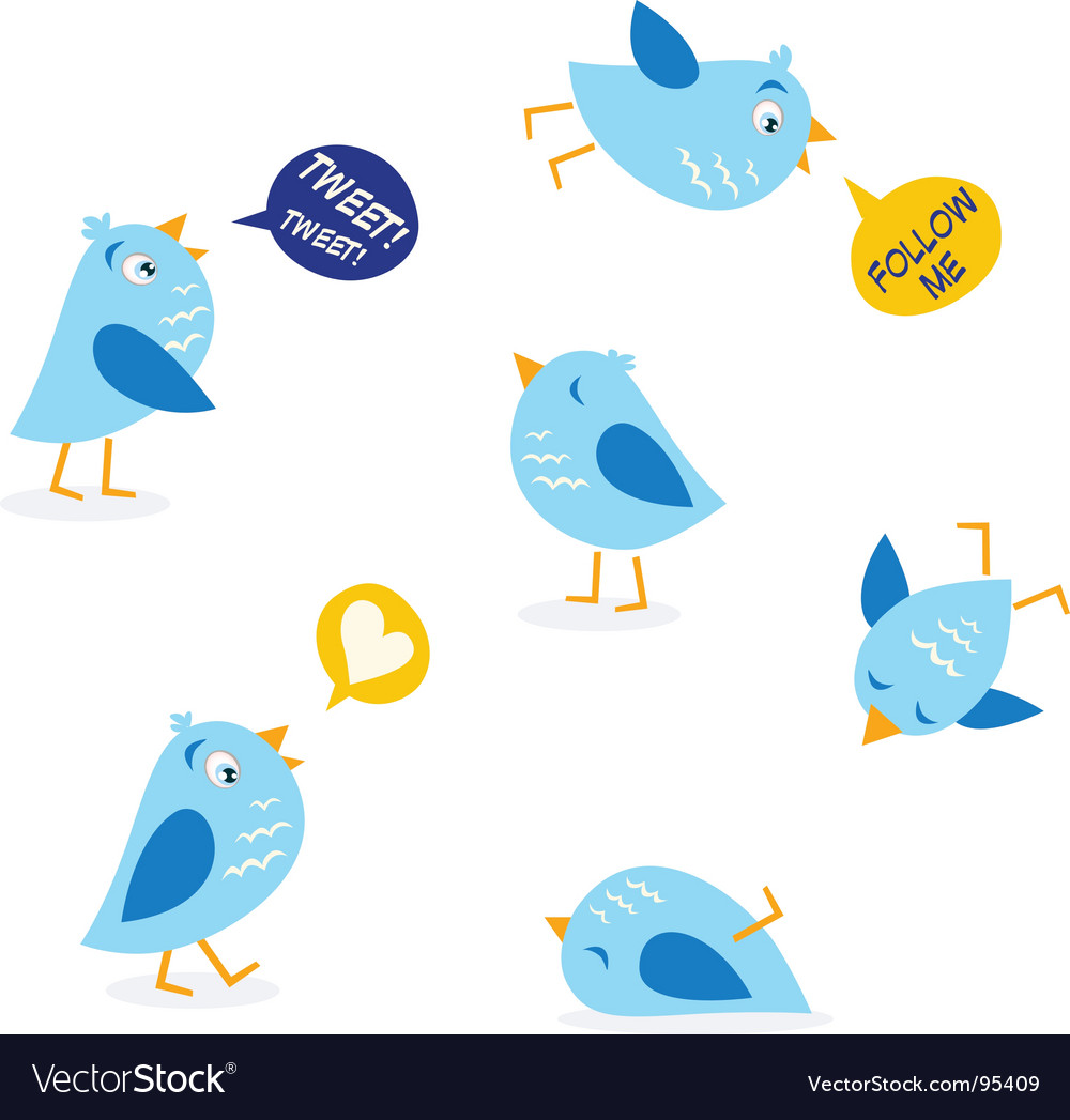 Twitter message birds set vector | Price: 1 Credit (USD $1)